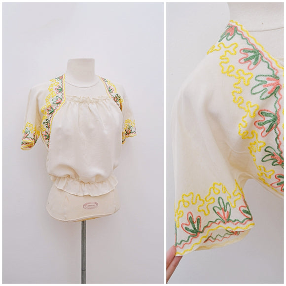 1940s CC41 Cream embroidered rayon folk style blouse