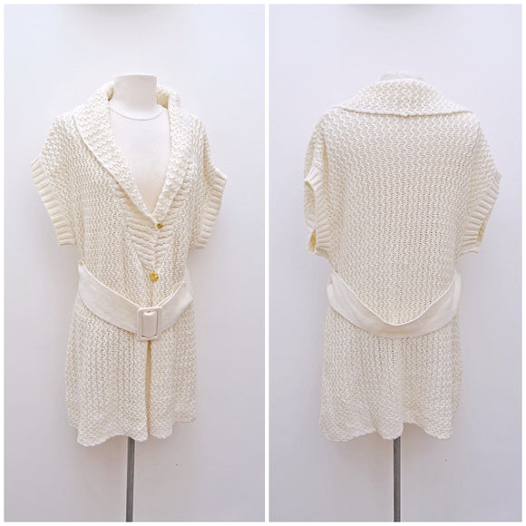 1970s 80s Cream chunky knit long tunic cardigan