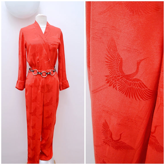 1980s Red Crane pattern Japanese influence rayon blouson jumpsuit