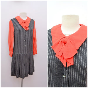 1960s Pinstripe grey wool & red crepe faux pinafore shift dress