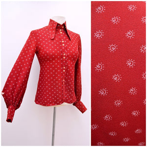 1960s Dark red heart print crepe beagle collar blouse