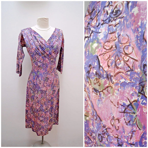 1950s Purple pink printed silk wrap bodice evening dress