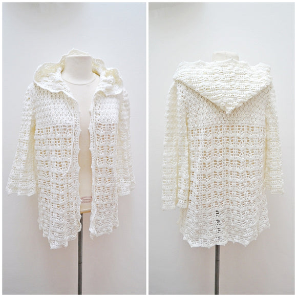 1970s does 1930s Hooded cream crochet coverup or jacket