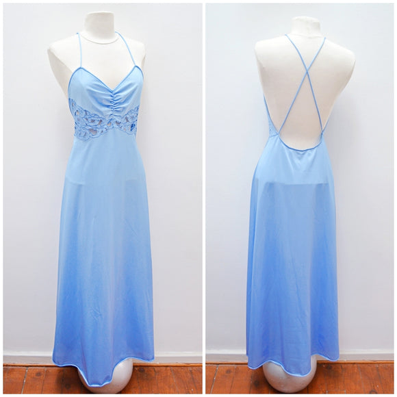 1970s Cornflower blue cutout waist Vanity Fair nightgown - Small