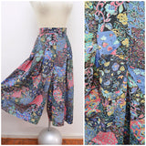1980s Rayon printed floral patchwork culotte trousers