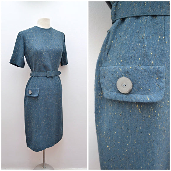 1960s Teal flecked wool fitted dress with pocket detail