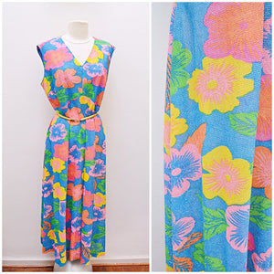 1970s Floral print lurex maxi party dress in blue/yellow/pink