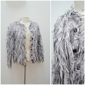 1980s Grey & black fringed knit fluffy cardigan