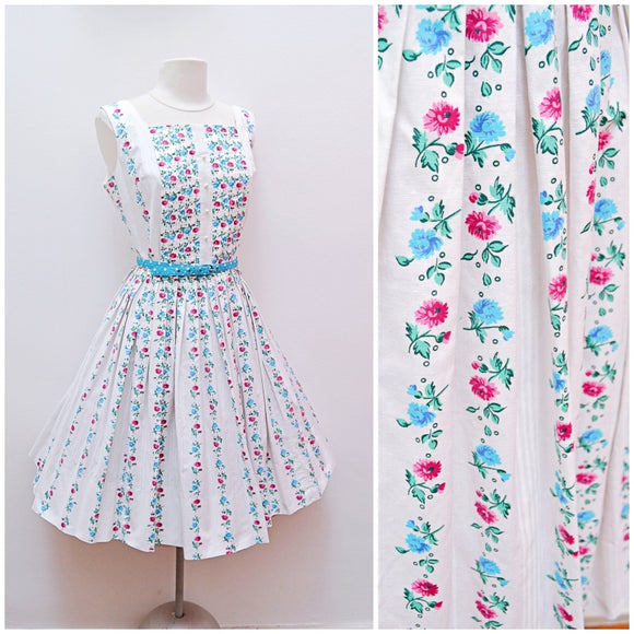 1950s Pleated bodice pink/blue/white floral cotton full skirt dress