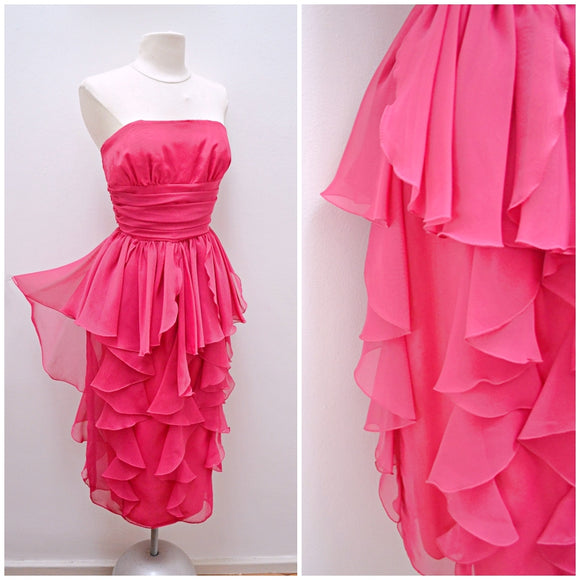 1980s Hot pink chiffon swag strapless cocktail dress