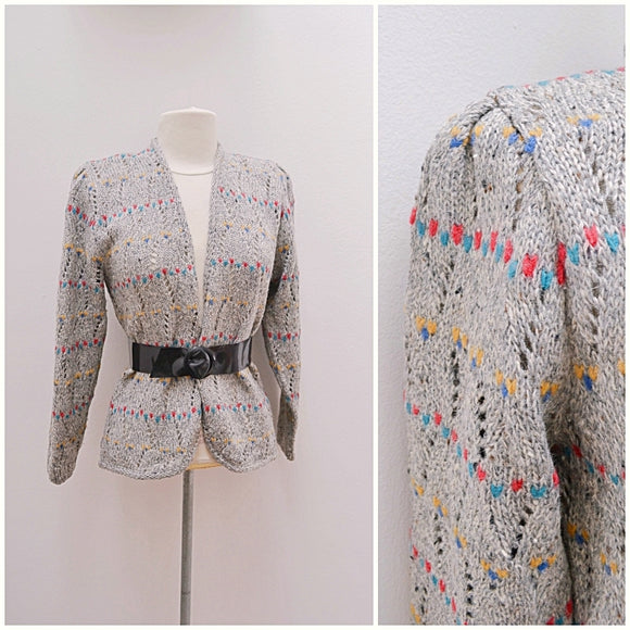 1970s does 40s Grey multicolour fleck French Connection cardigan - Medium