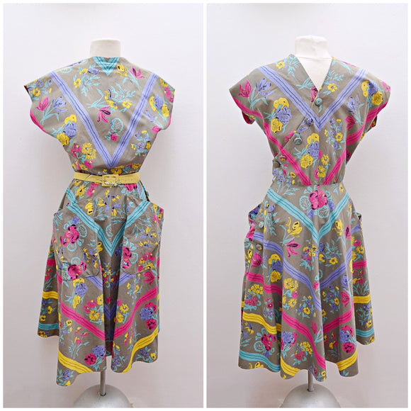 1940s 50s Floral chevron cotton summer dress with pockets