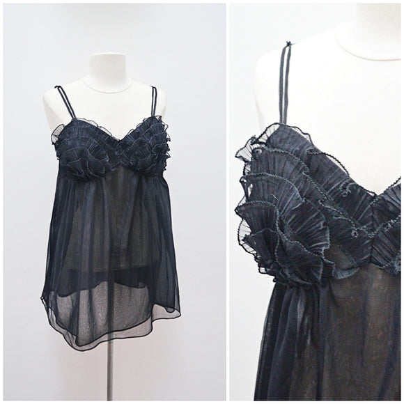 1960s Frilled bust black double layer babydoll nightdress - Small