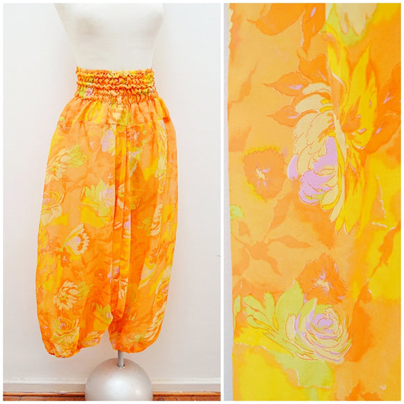 1970s 80s Orange rose print silk genie hareem pants