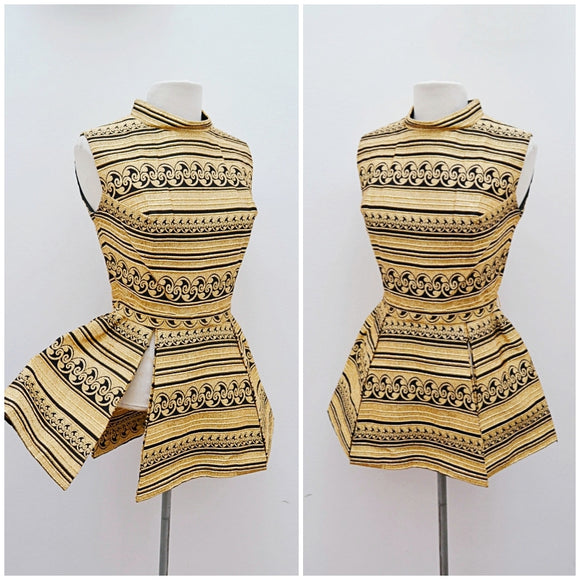 1960s Gold & black lurex peplum tunic