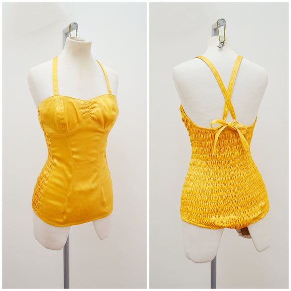 1940s Gold satin halterneck shirred swimsuit - Extra Small Small