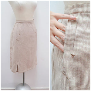 1960s Beige check wool arrow embroidery Gor Ray skirt with pockets - Extra Small