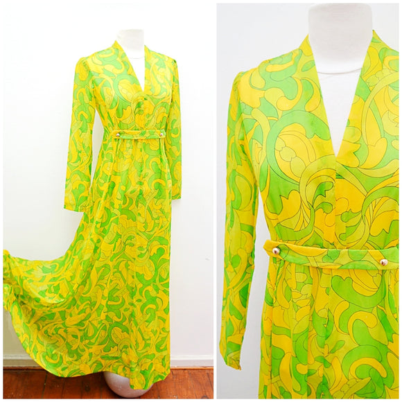 1960s 70s Green printed semi sheer hostess dress