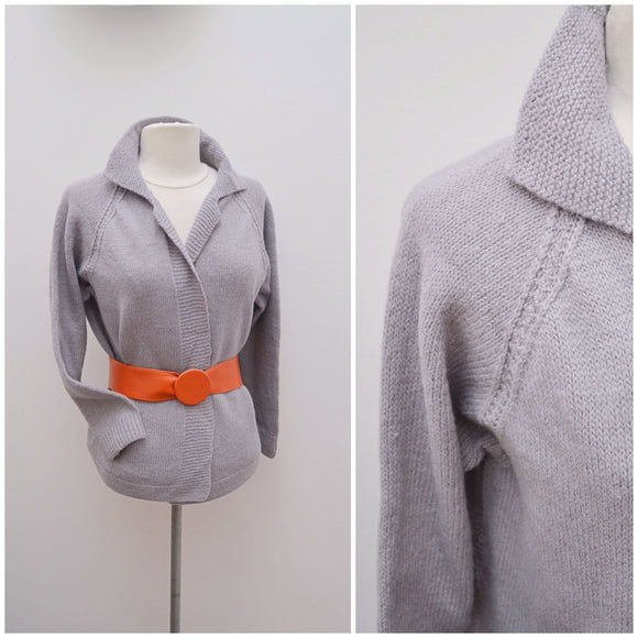 1960s Grey wool collared open front cardigan/Jacket - Medium Large