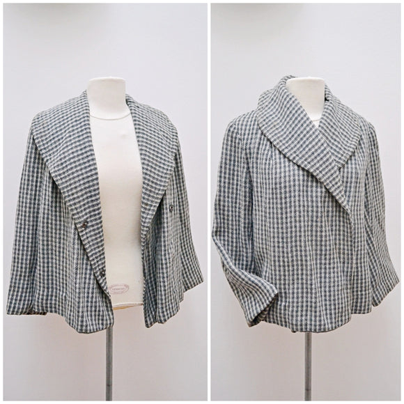 1950s Grey check wool wide collar short day jacket