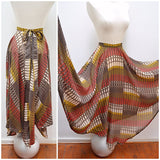 1970s Graphic print full handkerchief point hem skirt - Small