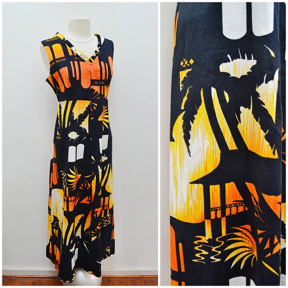 1960s 70s Hukilau Hawaiian novelty barkcloth maxi dress