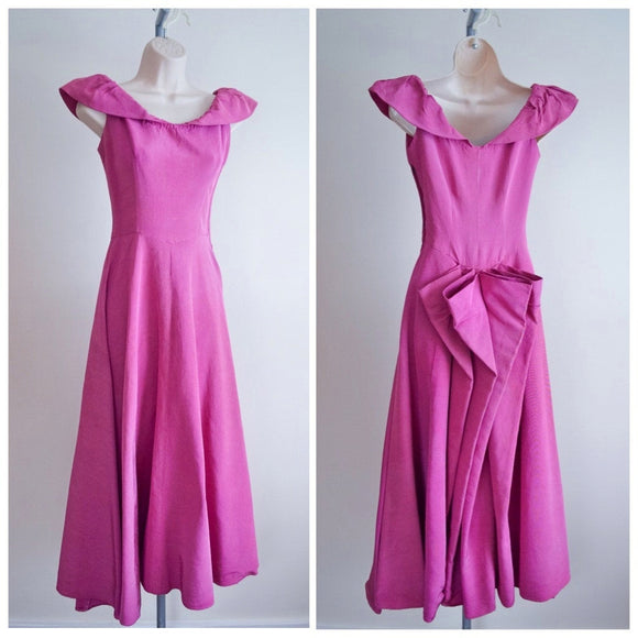 1930s 40s Pink faille bustle back full length evening dress