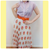 1980s Bouquet floral print white pleated skirt - Medium