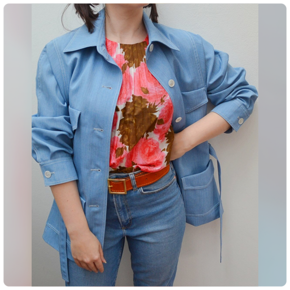 1970s Jaeger blue tie belt safari style jacket - Large Extra large