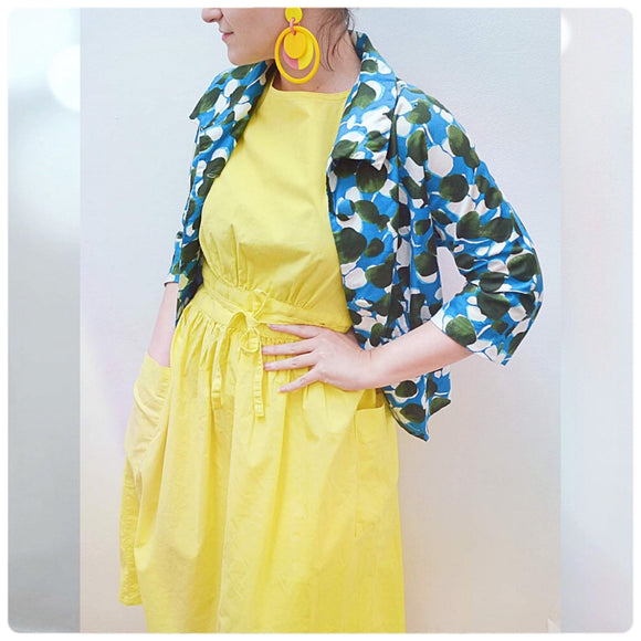 1950s 60s Blue printed cotton day jacket - Small Medium