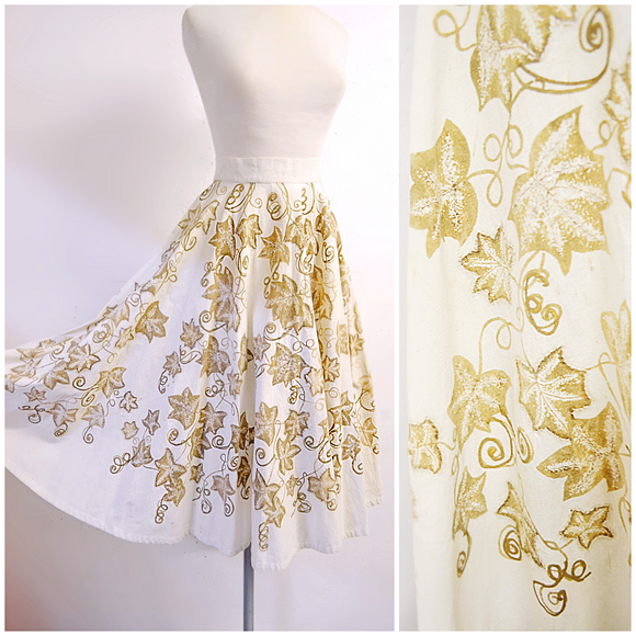 1950s Mocambo gold painted ivy & sequin Mexican circle skirt