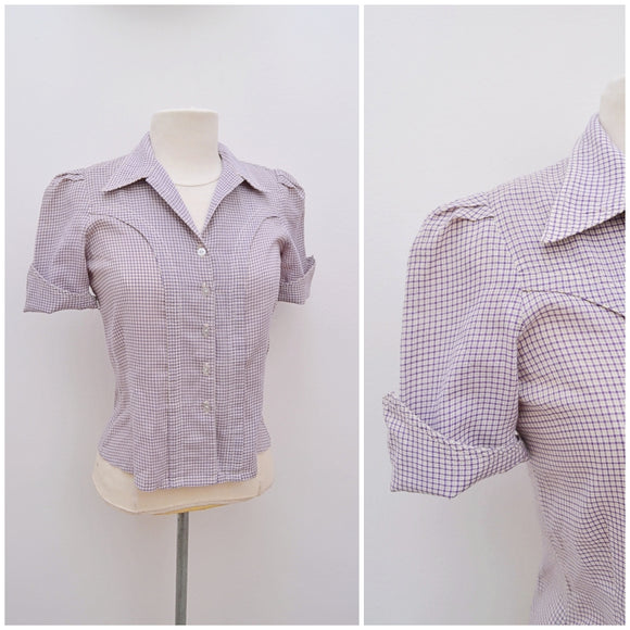1970s Purple gingham check western Jeff Banks blouse