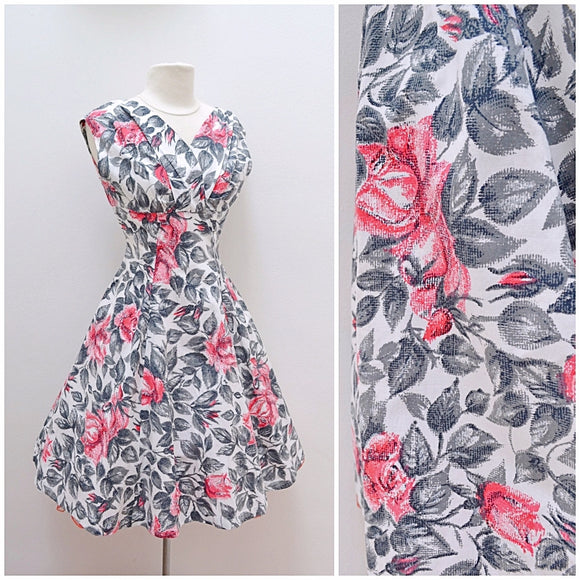 1950s White cotton summer dress with pink rose print