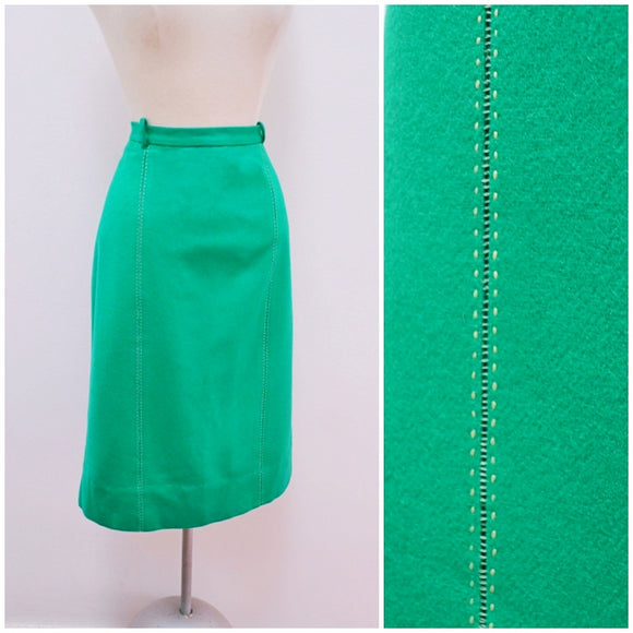1960s Green wool embroidered detail Kerrybrook skirt - Extra Large