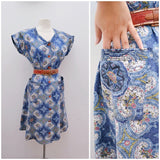 1940s Blue printed cotton dress with pockets