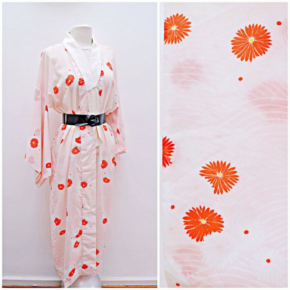 1960s Pastel pink & red printed long Jubal kimono robe