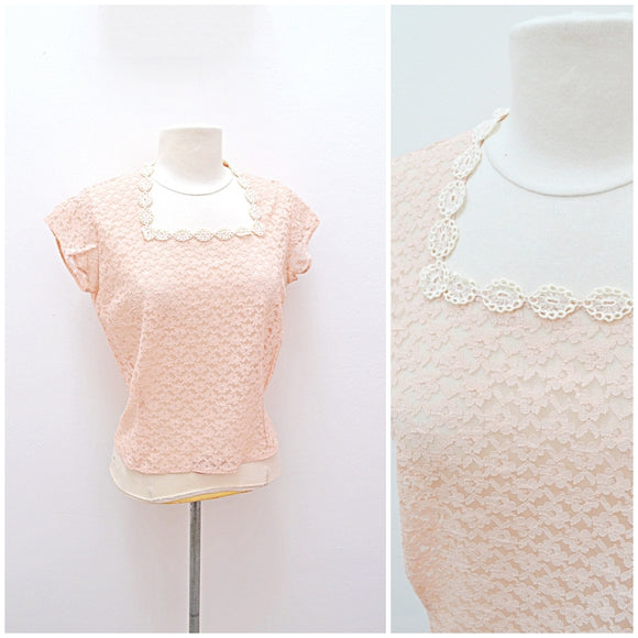 1950s Pastel peach lace sheer San Paula day top