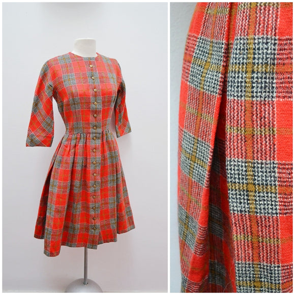 1960s Red check woollen Lanz Originals day dress