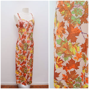 1970s Slinky jersey orange green leaf print maxi dress