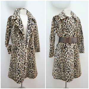 1960s Leopard print faux fur long belted coat