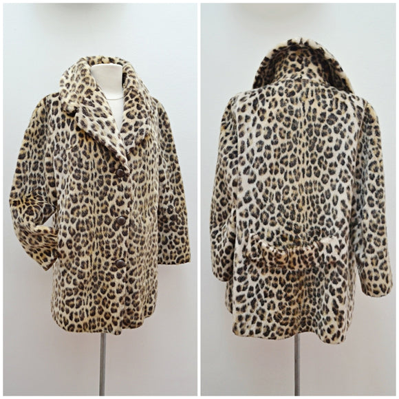 1960s Leopard print faux fur hip length Lister coat - sz small
