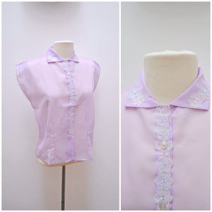 1960s Lilac pastel nylon sheer embroidered daisy blouse