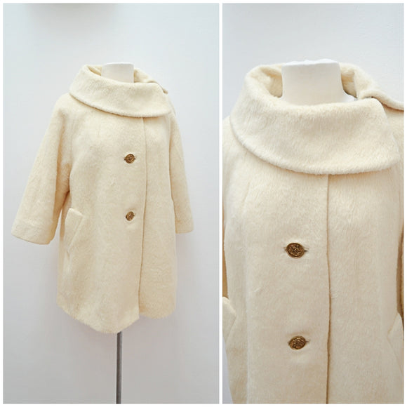 1960s Cream Lilli Ann mohair roll neck coat - Small Medium Large