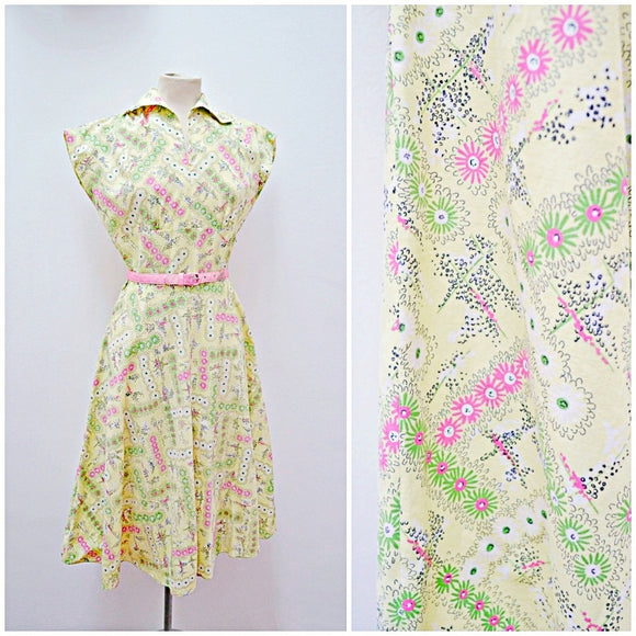 1940s 50s Pastel green & pink atomic daisy print cotton dress
