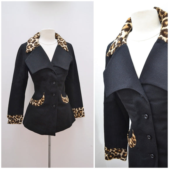 1960s Black & leopard print faux fur 'London Look' fitted jacket