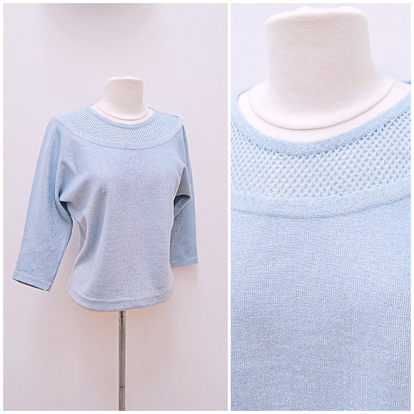 1950s 60s Baby blue lurex wool jersey sweater with lattice neck