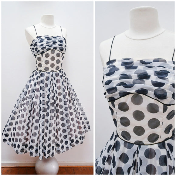 1950s White & black polka dot full skirt party dress - Small