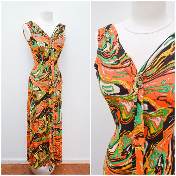1970s Orange multicoloured marbled maxi dress - Extra X small