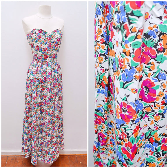1970s 80s Floral rayon Marion Donaldson maxi dress