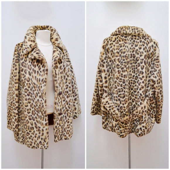 1960s Leopard print faux fur unfitted Martinex coat
